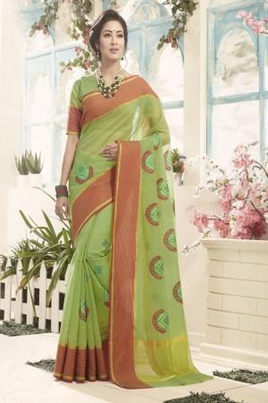 Versatile Light Green Cotton Silk Embroidery Saree