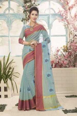 Delightful Light Blue Cotton Silk Embroidery Saree