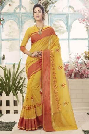 Charming Yellow Cotton Silk Embroidery Saree