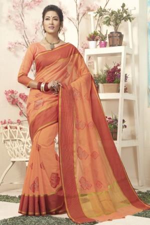 Exuberant Orrange Cotton Silk Embroidery Saree