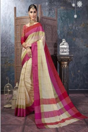 Dashing Cream Cotton Silk Printed  Saree