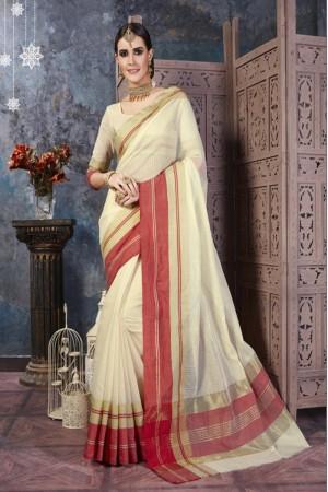 Breezy Cream Cotton Silk Printed  Saree