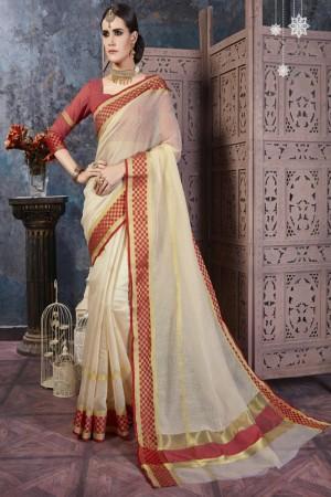 Versatile Cream Cotton Silk Printed  Saree