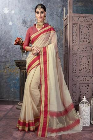 Delightful Cream Cotton Silk Printed  Saree
