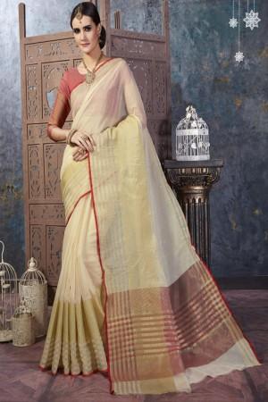 Dazzling Cream Cotton Silk Printed  Saree