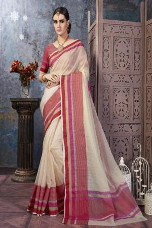 Exuberant Cream Cotton Silk Printed  Saree