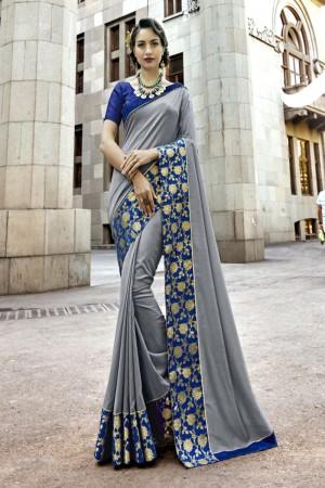 Dashing Grey Art silk Lace border Saree