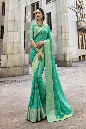 Breezy Pista Art silk Lace border Saree