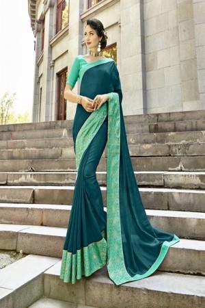Delightful Rama Green Art silk Lace border Saree