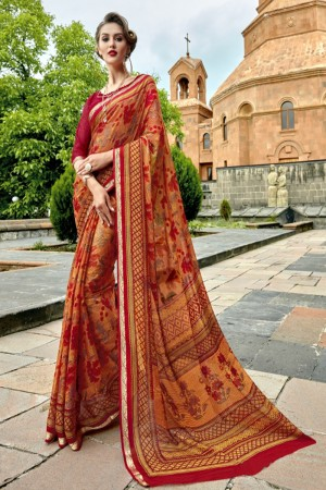 Delightful Red Chiffon Printed  Saree
