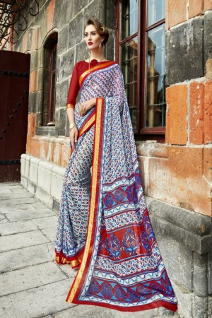 Charming Blue Chiffon Printed  Saree