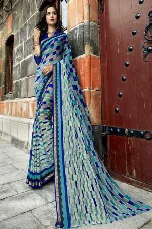 Exuberant Blue Chiffon Printed  Saree