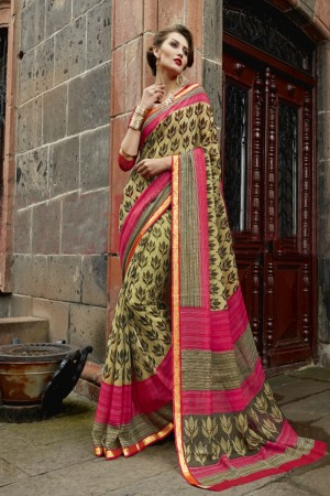 Trendy Light mehendi Chiffon Printed  Saree
