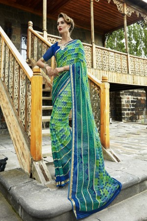 Versatile Green Chiffon Printed  Saree