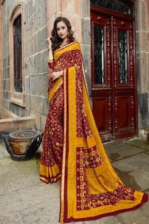 Dazzling Yellow maroon Chiffon Printed  Saree