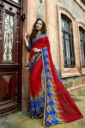 Eye catching Dark red Chiffon Printed  Saree