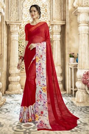Dazzling Red Georgette Satin Printed  Saree