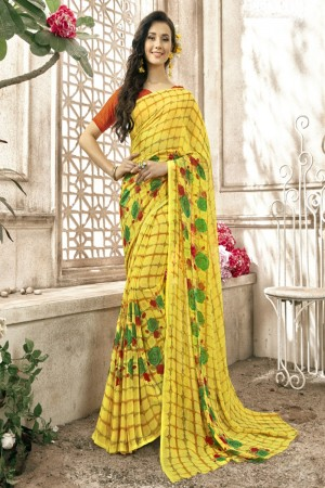 Peppy Yellow Faux georgette Printed  Saree