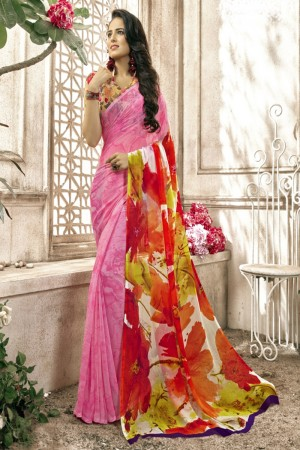 Fab Pink Faux georgette Printed  Saree