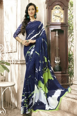 Graceful Navy blue Faux georgette Printed  Saree
