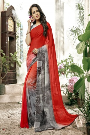 Bewitching Red Faux georgette Printed  Saree