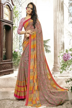 Picturesque Ligth Brown Faux georgette Printed  Saree