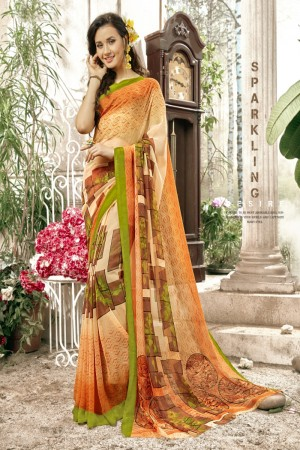 Refreshing Orange Faux georgette Printed  Saree
