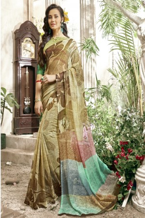 Royal Multi Faux georgette Printed  Saree