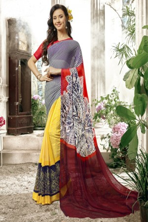 Bedazzling Black &  yellow Faux georgette Printed  Saree