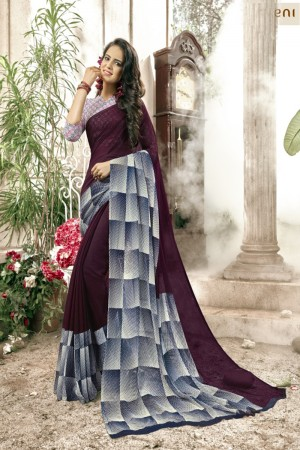 Gorgeous Wine & grey Faux georgette Printed  Saree
