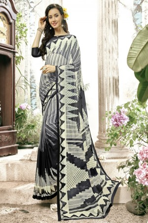Splendiferous Black  & wihte Faux georgette Printed  Saree