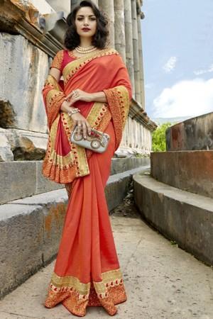 Voguish Orange Silk Embroidery and Lace Border Saree Saree
