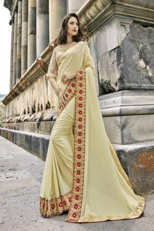 Attractive Cream Silk Embroidery and Lace Border Saree Saree