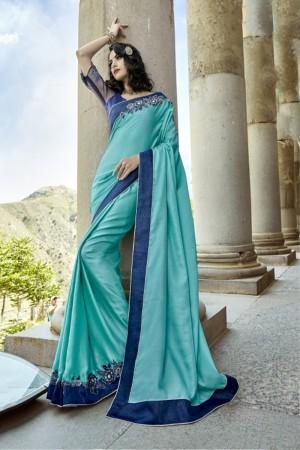 Fabulous Sky blue Silk Embroidery and Lace Border Saree Saree