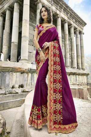 Enthralling Wine Silk Embroidery and Lace Border Saree Saree