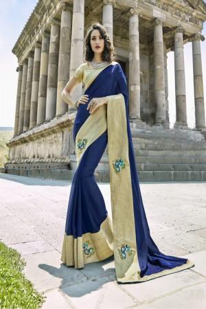 Angellic Navy blue Silk Embroidery and Lace Border Saree Saree