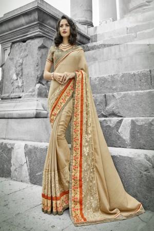 Ethnic Cream Silk Embroidery and Lace Border Saree Saree