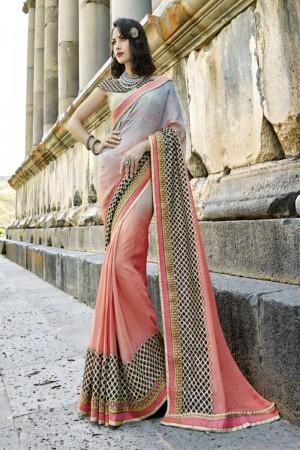 Distinctive Grey peach Silk Embroidery and Lace Border Saree Saree