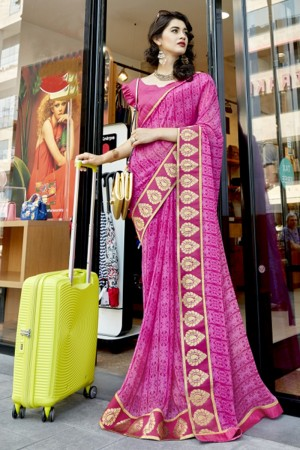 Ambitious Rani Pink Georgette Printed  Saree