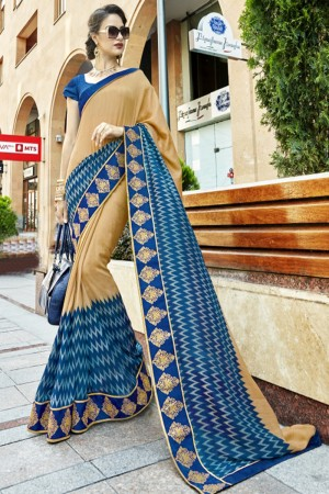 Astounding Blue Georgette Printed  Saree