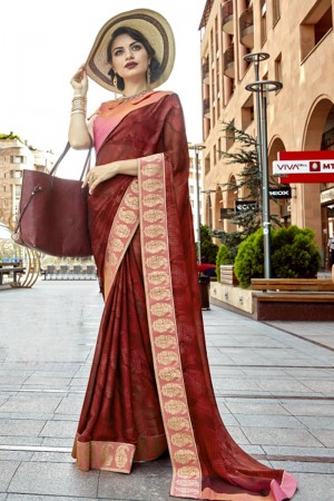 Desirable Maroon Georgette Printed  Saree