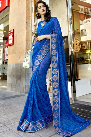 Designer Blue Georgette Printed  Saree