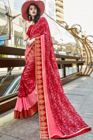 Beguiling Red Georgette Printed  Saree