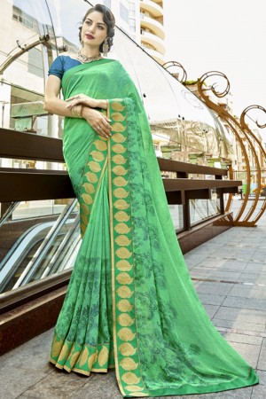 Alluring Green Georgette Printed  Saree
