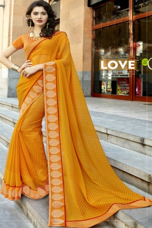 Enriching Orange Georgette Printed  Saree