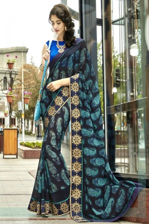 Majestic Navy Blue Georgette Printed  Saree