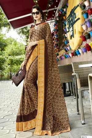 Glossy Brown Georgette Printed  Saree