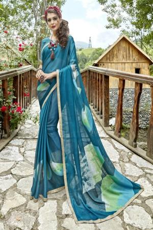 Superb Rama Georgette Printed  Saree