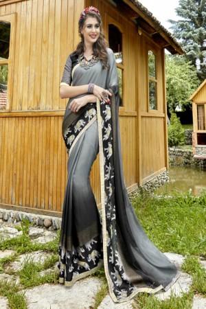 Unique Grey Georgette Printed  Saree