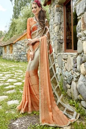 Fashionable Orange Georgette Printed  Saree